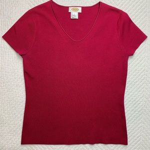 NEW Talbots Berry Pink Red 77% Silk Knit Top S